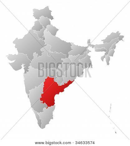 Karta över Indien, Andhra Pradesh belyst