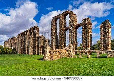 The Acueducto De Los Milagros, Miraculous Aqueduct In Merida, Extremadura, Spain Is A Ruined Roman A