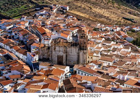 Little Village Of Feria With Church Of San Bartolome. Extremadura In Spain.
