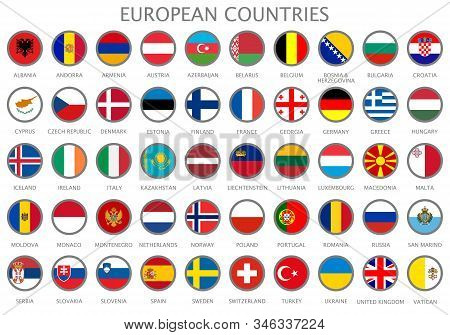 All National Flags Of The European Countries In Alphabetical Order. Official Colors Flags And Round