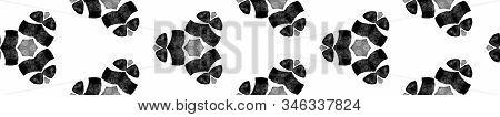 Grey Black And White Vintage Kaleidoscope Seamless Border Scroll. Geometric Watercolor Frame. Ecstat