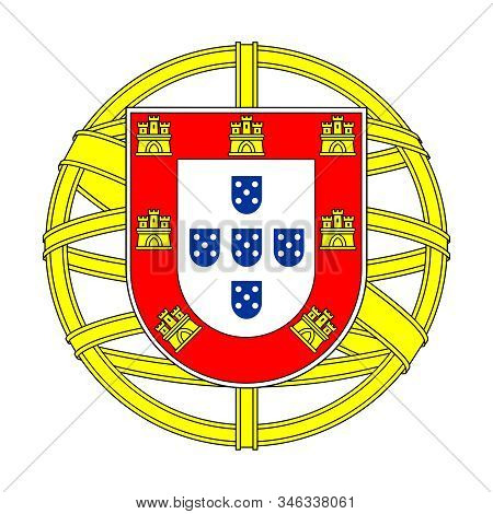 Middle Coat Of Arms Portugal. Isolated Symbol On White Background. Sign Vector Illustration