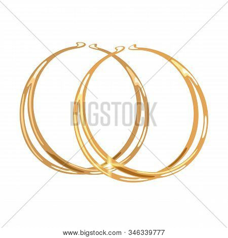 Stylish Double Hoops Or Rings Yellow Gold Earrings Or Earclips. Elegant Accessories Vector Realistic