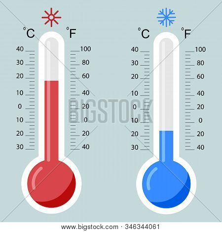 Flat Thermometers. Hot And Cold Mercury Thermometer Control With Accuracy Meteorology Fahrenheit And