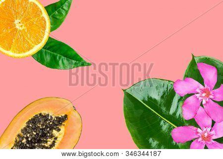 Cut In Halved Ripe Juicy Papayas Orange Slice Fuchsia Flowers Green Palm Leaves On Cherry Pink Backg
