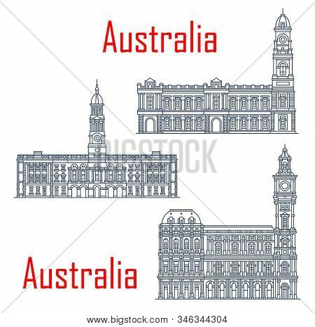 General Post Office Of Melbourne, Adelaide Town Hall Buildings. Vector Architecture Of Australia, Ad