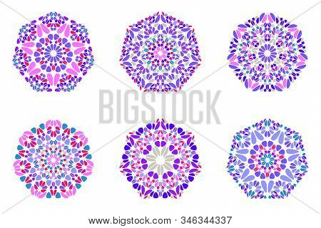Abstract Ornate Petal Heptagon Symbol Template Set - Colorful Geometrical Geometric Vector Graphic E