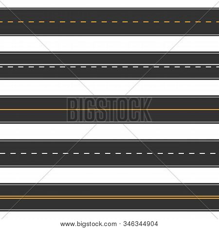 Horizontal Straight Seamless Roads. Modern Asphalt Repetitive Highways. Road Asphalt Straight Seamle