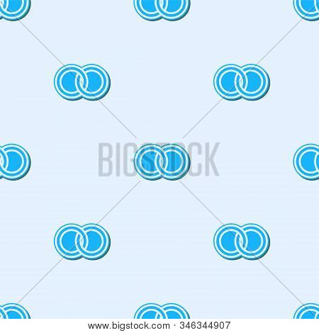 Blue Line Wedding Rings Icon Isolated Seamless Pattern On Grey Background. Bride And Groom Jewelery