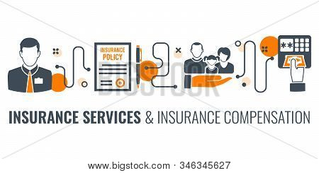 Insurance Services Process Infographics With Two Color Flat Icons Like Insurant Agent, Policy, Claim
