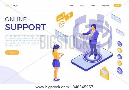 Online Isometric Customer Support Concept. Mobile Call Center With Man Consultant, Headset, Rating,