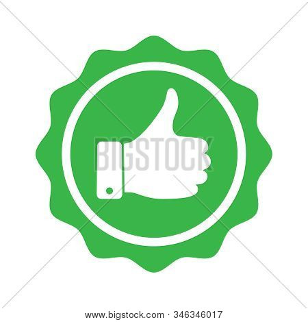 Recommend Graphic Icon. Recommended Symbol With Thumbs Up. Quality Production Sign Isolated On White