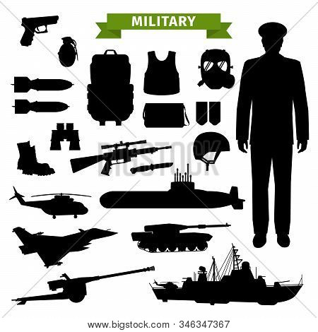 Military Ammunition, Transport, Gun And Officer Isolated Black Silhouettes. Vector Gun And Rifle, Ar