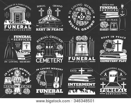 Funeral, Burial And Interment Service, Isolated Monochrome Icons. Vector Burial Ground Ceremony, Res