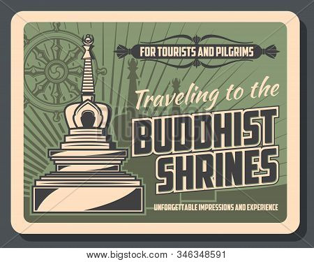 Vector Vintage Card With Stupa Temple, Buddhism Dharma Wheel And Worship Tips. Buddhist Shrines Tour