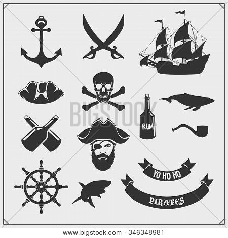 Set Of Pirate Icons, Emblems And Design Elements. Ship, Anchor And Jolly Roger.