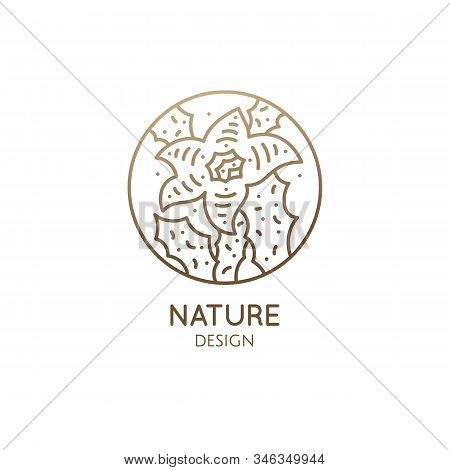 Cactus Logo Template. Vector Round Emblem Of Blossoming Succulent Or Subtropical Plant In Linear Sty