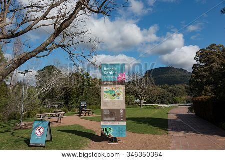 Wollongong, Australia - September 20, 2015: Wollongong Botanic Garden Entrance With Navigation Map A