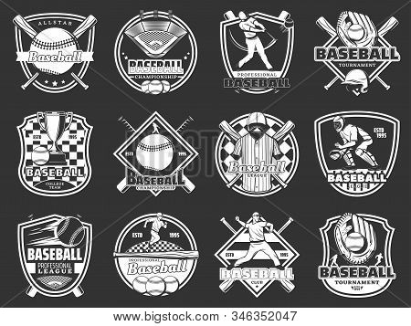 Baseball Sport. Vector Isolated Icons Of Bat And Ball Game, Quarterback Player And Trophy Cup, Field