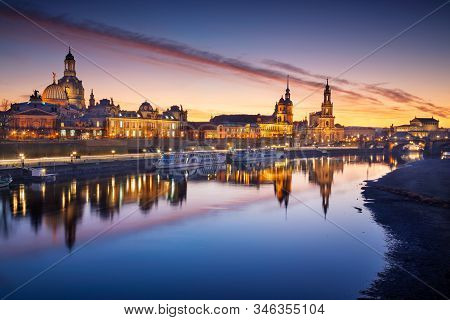 Dresden, Germany. Image Of Dresden, Germany With The Dresden Frauenkirche And Dresden Cathedral Duri