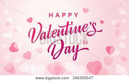 Happy Valentines Day Greeting Card With Flying Watercolor Pink Hearts. Vector Symbols Of Love In Sha