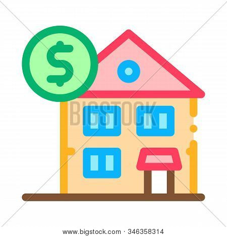 House Mortgage Icon Vector. Outline House Mortgage Sign. Isolated Contour Symbol Illustration
