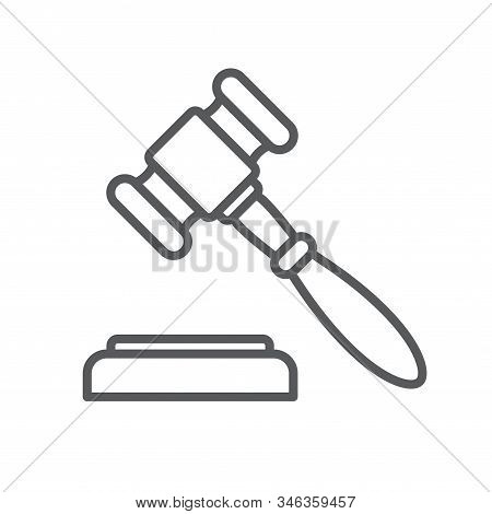 Judge Gavel Or Auction Hammer Line Icon. Minimalist Icon Isolated On White Background. Judge Hammer