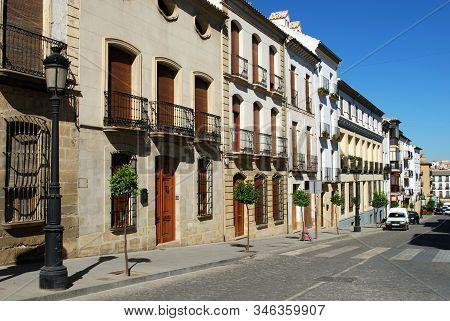 Baeza, Spain - July 28, 2008 - Traditional Spanish Shops And Businesses Along Calle Obispo Narvaez,