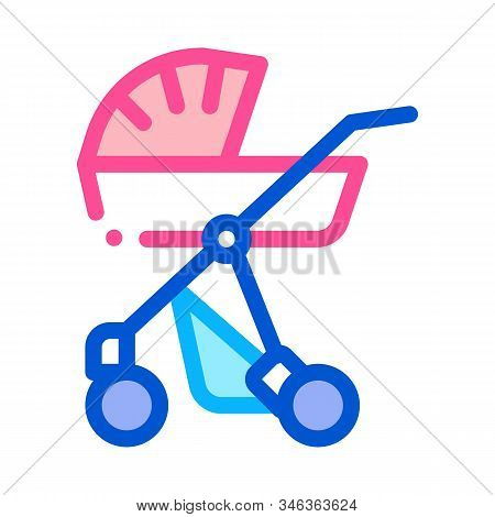 Baby Carriage Icon Vector. Outline Baby Carriage Sign. Isolated Contour Symbol Illustration