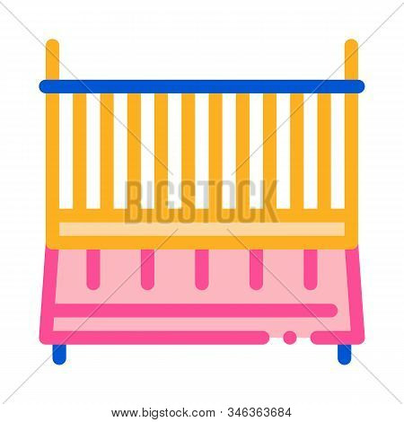 Cot Baby Bed Icon Vector. Outline Cot Baby Bed Sign. Isolated Contour Symbol Illustration