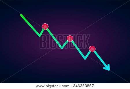Downtrend Trend Definition Flat Icon - Bearish Chart Pattern Figure Technical Analysis. Vector Stock