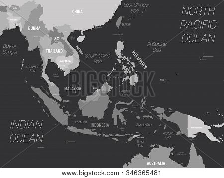 Southeast Asia Map - Grey Colored On Dark Background. High Detailed Political Map Of Southeastern Re