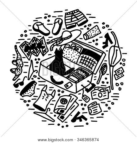 Vacation Packing A Suitcase Doodle Vector Illustration