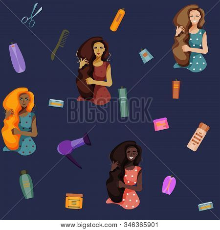 Four Smiling Girl With Long Black, Blonde And Red Hair And Hairs Products: Hair Dryer, Comb, Scissor