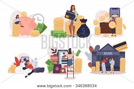Six Different Banking And Financial Designs With People With A Piggy Bank, Banking At The Bank, Onli