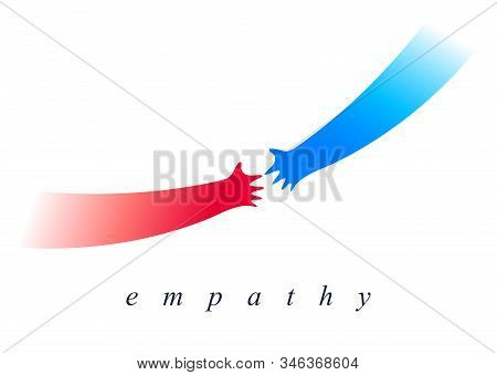 Help And Empathy Concept Two Hands Helping One Another Vector Simple Minimal Illustration, Care Give