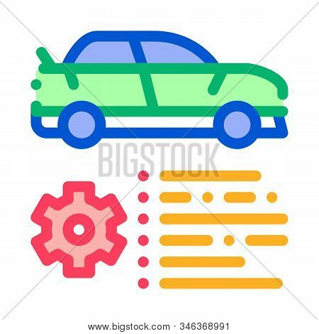 Car Feature Gear Icon Vector. Outline Car Feature Gear Sign. Isolated Contour Symbol Illustration