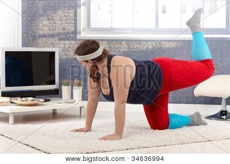 dicke Frau Stock zu Hause trainieren.