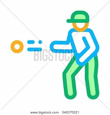 Player Throw Ball Icon Vector. Outline Player Throw Ball Sign. Isolated Contour Symbol Illustration
