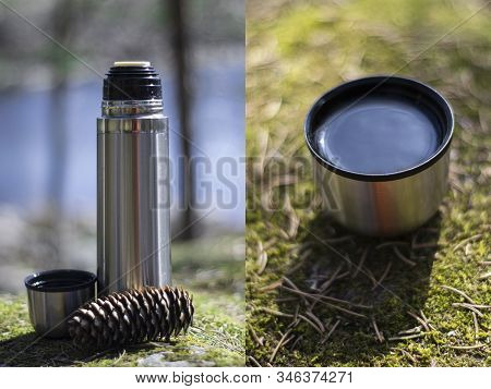 Combo Picture Of Two Photos: Thermos, Cup And Pinecone- Picnic On Mossy Background
