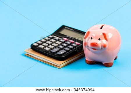 Piggy Bank Pink Pig And Calculator. Business Administration. Finance Manager Wanted. Trading Exchang