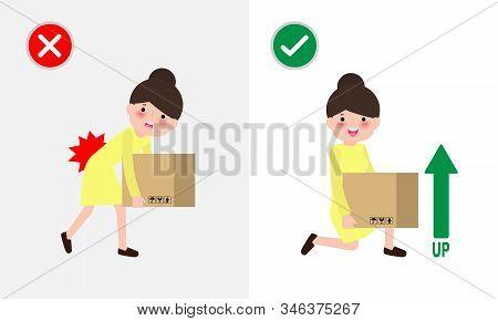 Correct Lifting Posture And Incorrect Man Lift Wrong And Right Position. Disease Back Pain. Medical
