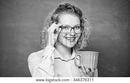 Enjoying Hot Coffee. School Teacher Need Coffee Break. Woman With Coffee Cup At Blackboard. Good Mor
