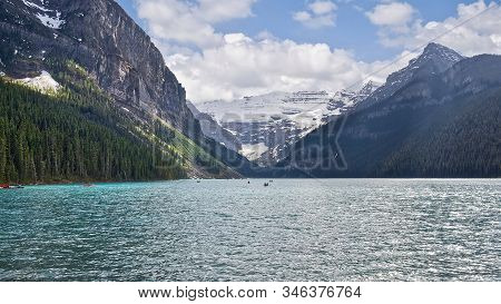 The Beautiful Turquoise Glacial Lake Louise In Banff National Park. One Of The Most Famous Canadian