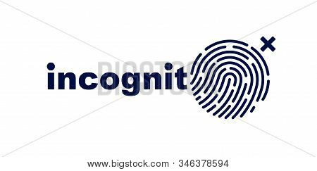 Finger Print Vector Simple Logo Or Icon, Incognito Man Concept, Unidentified Person, People Search,