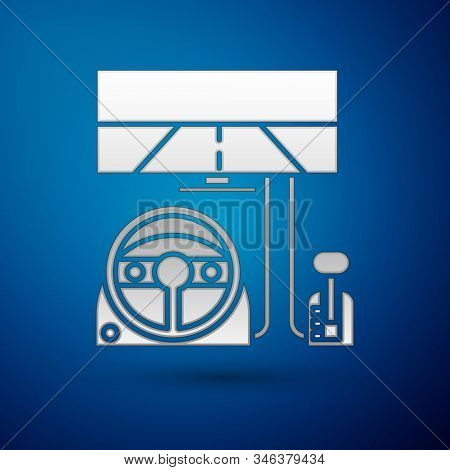 Silver Racing Simulator Cockpit Icon Isolated On Blue Background. Gaming Accessory. Gadget For Drivi