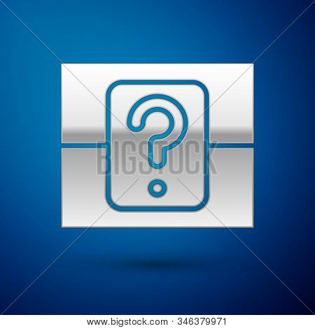 Silver Mystery Box Or Random Loot Box For Games Icon Isolated On Blue Background. Question Box. Vect