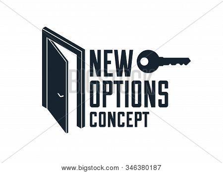 Half Open Door Vector Concept Of New Opportunities, Step Into Future Metaphor, Start Of New Business