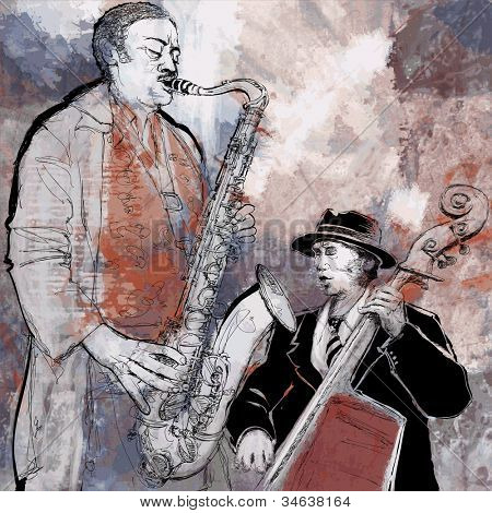 Vector illustration of a saxophonist and bassist playing jazz music with double-bass and saxophone