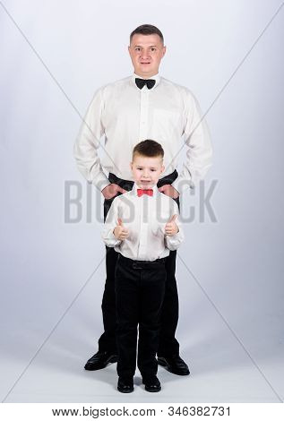 Esthete. Trust And Values. Male Fashion. Happy Child With Father. Business Meeting Party. Little Boy